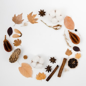 Autumn leaves flat lay with copy space