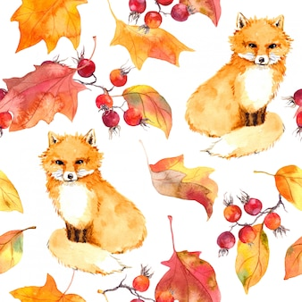 Autumn leaves and fox animal. seamless autumn pattern. watercolor