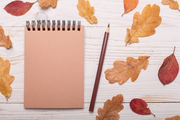 Autumn leaves, notebook and pencils on a white wooden table