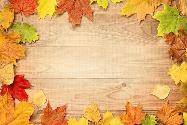나무 테이블에 단풍, 평평한 누워