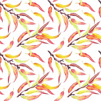枝に紅葉。自然なシームレスパターン、水彩