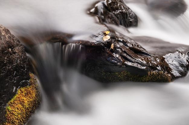 川の石に紅葉。長時間露光シュート。美しい秋の風景