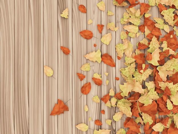 Осенние листья на деревянных фоне