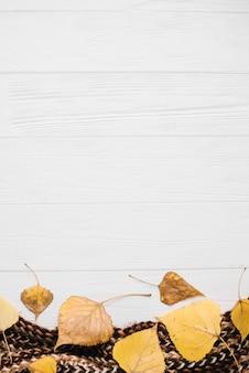 Foglie d'autunno sulla sciarpa