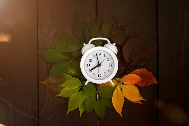 秋の紅葉は、木製の背景に緑から赤に移行します。季節のコンセプトチェンジ。