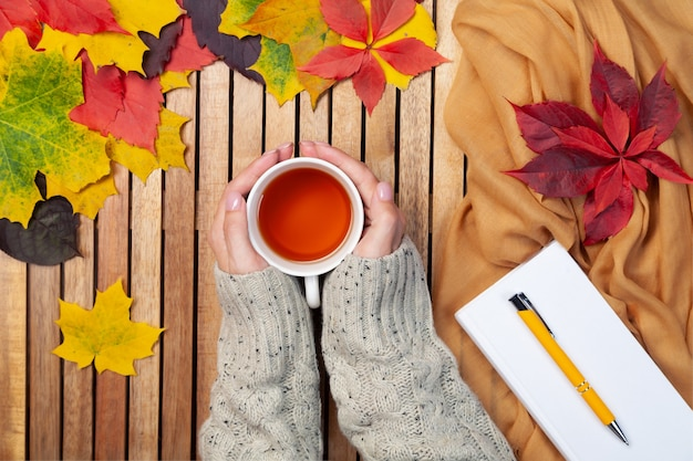 Autumn leaves, white notebook, pen, tea cup in female hands in knitted sweater, textile napkin, wooden background, mockup, place for text