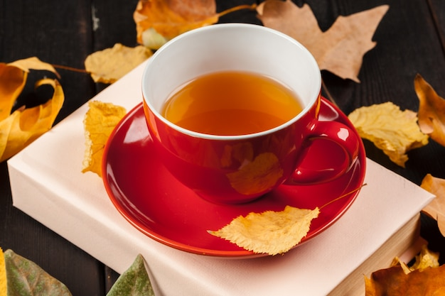 Autumn leaves with book and cup of tea