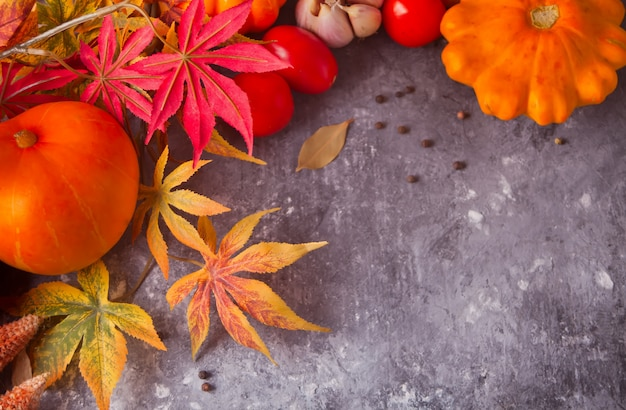 Autumn leaves with pumpkins and tomatoes on the concrete background