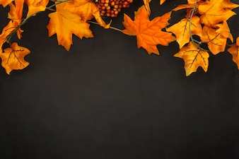 Autumn leaves with space