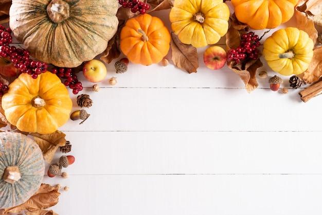 秋のカエデの葉、カボチャと赤い果実、感謝祭の日の概念。