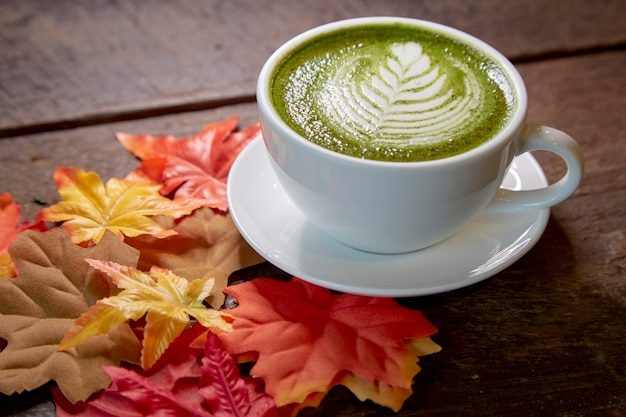 Autumn, matcha green tea cup wooden