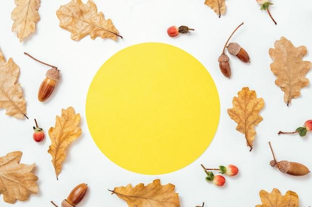 秋の最小限の構成。どんぐりの花輪、金色のaokの葉、白い背景の上の赤いベリー。テキストの黄色い円フォームフレームモックアップ。秋のデザイン要素。フラットレイ、上面図、コピースペース。