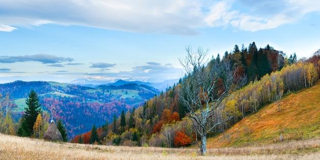 干し草の山と真っ白な裸の木が正面にある秋の霧のかかった朝の山のパノラマ(カルパティア山脈、ウクライナ)。 4ショットステッチ画像。