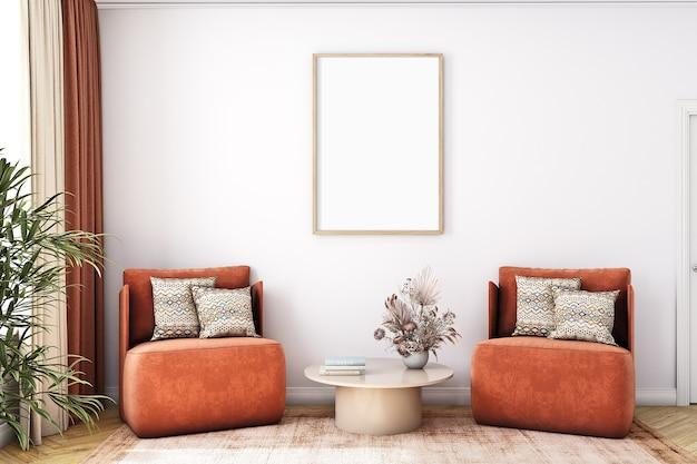 Осенний макет гостиной формата а4 в стиле сандинавский