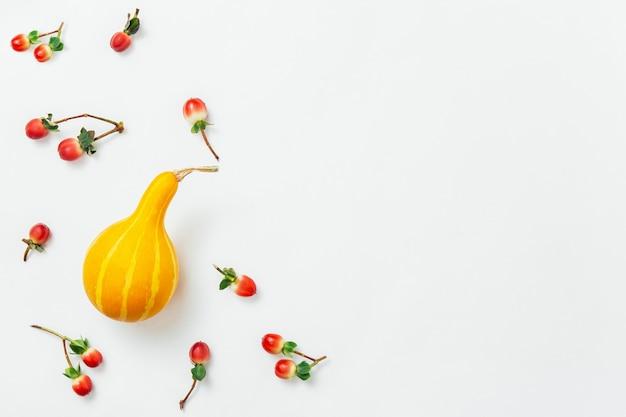 秋のモックアップ。白地に秋の赤いベリーとオレンジ色のカボチャの背景の秋のパターン。秋の構成、秋のコンセプト。フラットレイ、トップビュー、コピースペース。