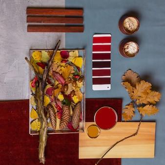 インテリアデザインの秋のムードボード