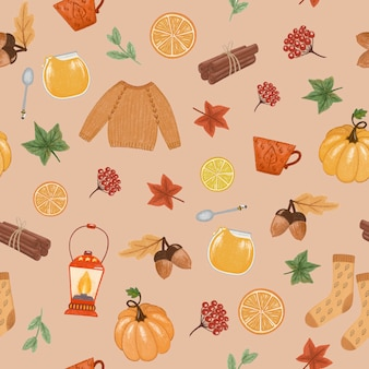 Autumn mood seamless pattern
