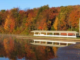 秋の朝の湖