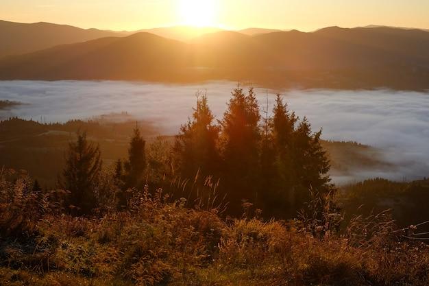美しい日の出と秋の山の風景