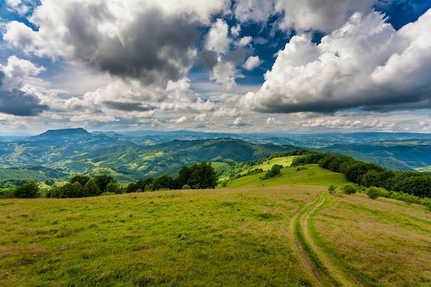 Осенний горный пейзаж - пожелтевшие и покрасневшие осенние деревья в сочетании с зеленой хвоей и голубым небом. красочная сцена осеннего пейзажа в румынских карпатах. панорамный вид.