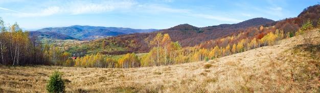 山腹の秋の山のパノラマと白樺の森。 (カルパティア山脈、ウクライナ)。 3ショットステッチ画像。