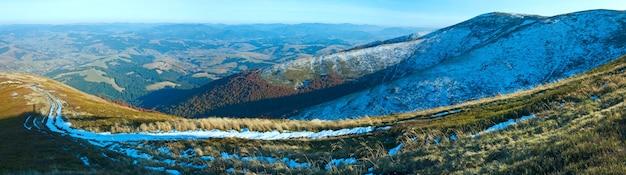 Осенняя горная панорама с первым зимним снегом (карпаты, украина).