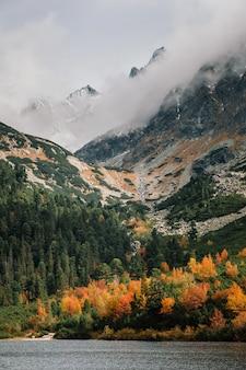 Autumn mountain and popradske pleso lake in high tatras, slovakia