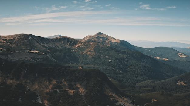 가을 산맥 공중 아무도 자연 풍경 녹색 소나무 언덕 봉우리에 예언