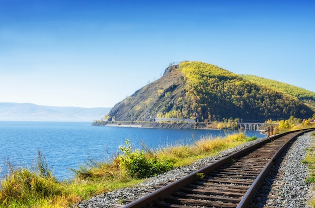 Осень на кругобайкальской железной дороге, восточная сибирь, россия