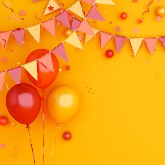 オレンジ色の風船とホオジロガーランドフラグと秋やハロウィーンの背景の装飾