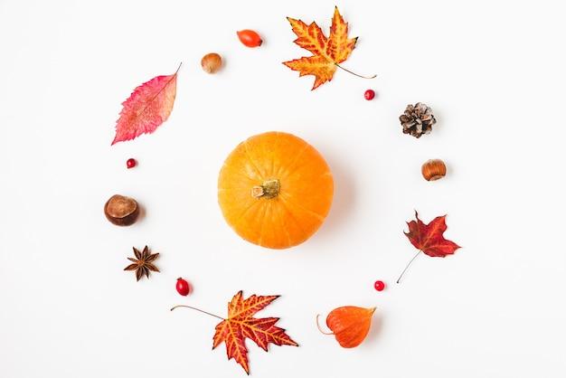 가을 또는 추수 감사절 배경과 가을 잎, 꽃, 호박, 견과류