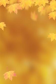 コピースペースとオレンジ色の垂直背景に秋のオレンジ色のカエデの葉