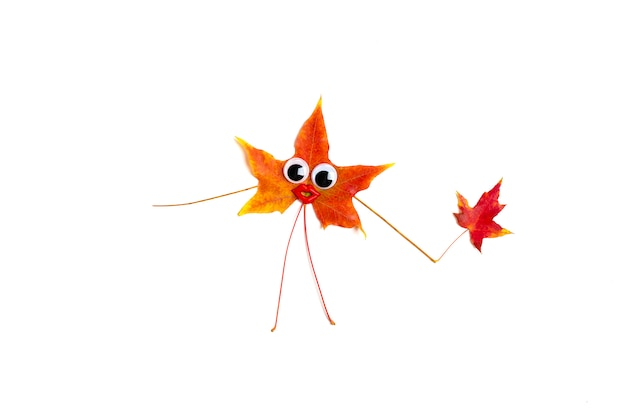 Autumn orange, yellow, red color maple leaf with funny googly eyes and lips  isolated on white