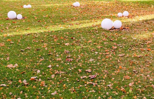 Осенний парк круглые светильники. концепция осеннего времени