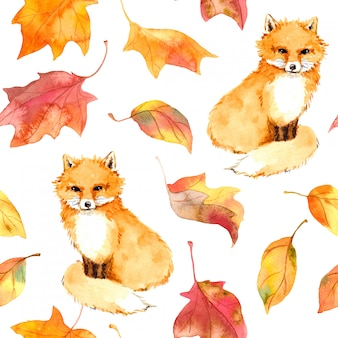 Autumn pattern, cute fox animal, red leaves. seamless watercolor
