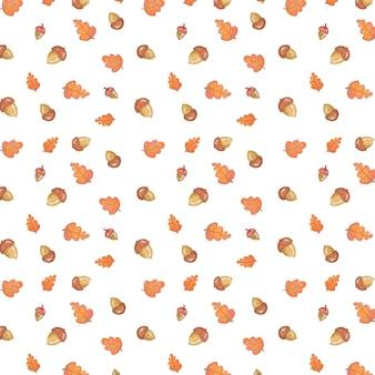 도토리와 잎 이을 패턴 일러스트
