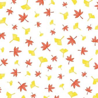 カエデの葉と秋のパターンイラスト