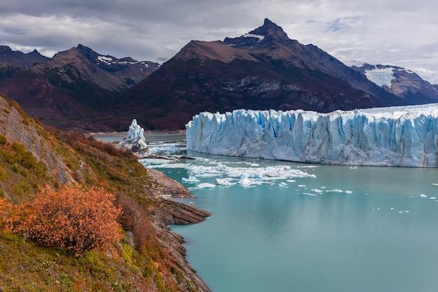Autumn in perito moreno national park blue glacier field yellow forest