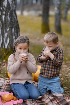 Autumn picnic in the park. brother and sister are sitting on the plaid and drinking milk. fallen leaves on the ground