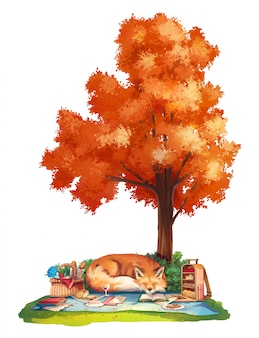 Autumn picnic with red fox