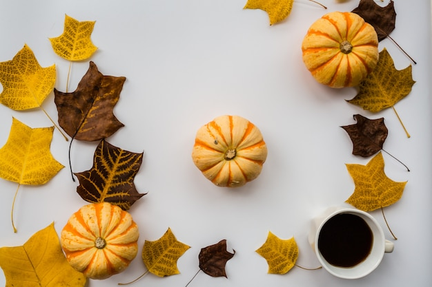 Autumn pumpkin, black coffee cup and fall leaves
