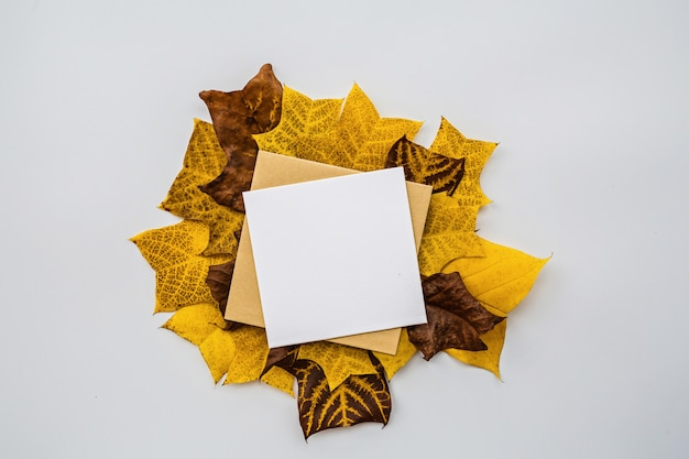 Autumn pumpkin, blank of paper and fall leaves.