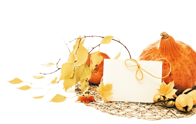Autumn pumpkins and leaves,
