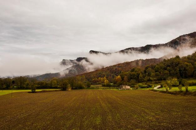 Autumn rainy day in la garrotxa, spain.