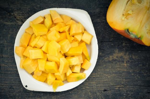 Autumn raw sliced pumpkin