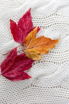 白いニットのセーターに秋の赤と黄色の葉。閉じる。寒い季節の心地よさと暖かさ。垂直。