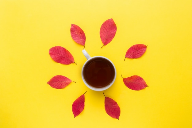Autumn red leaves and a cup of coffee on a bright yellow background