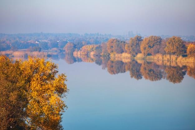 土手に沿って黄色い木々がある高さからの秋の川