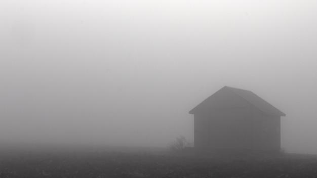 霧の中で秋の道。限られた可視性。
