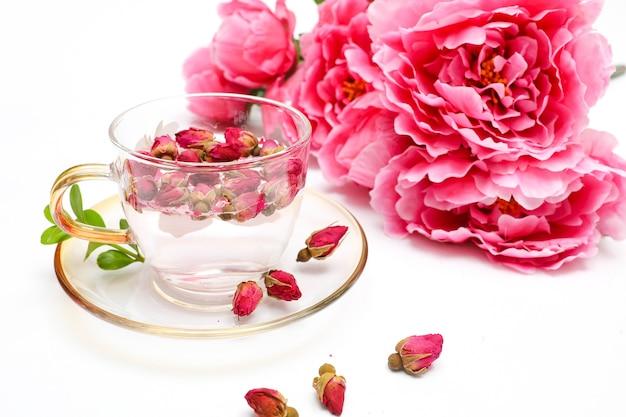 Autumn rose tea with flowers
